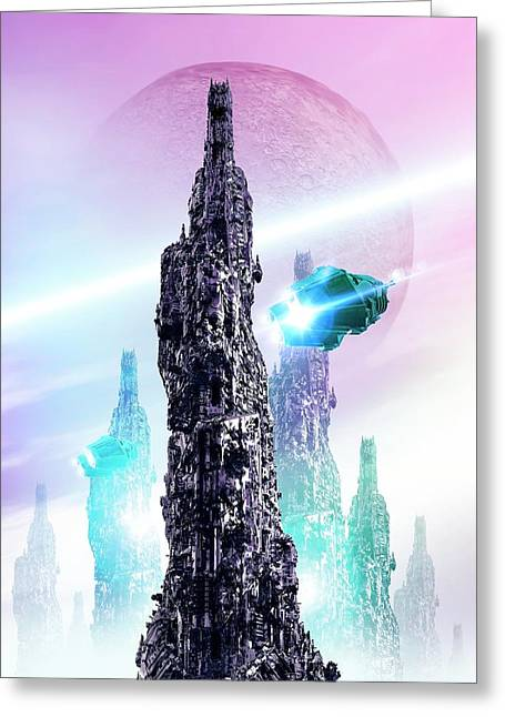 Space Craft And Cityscape Greeting Card by Victor Habbick Visions