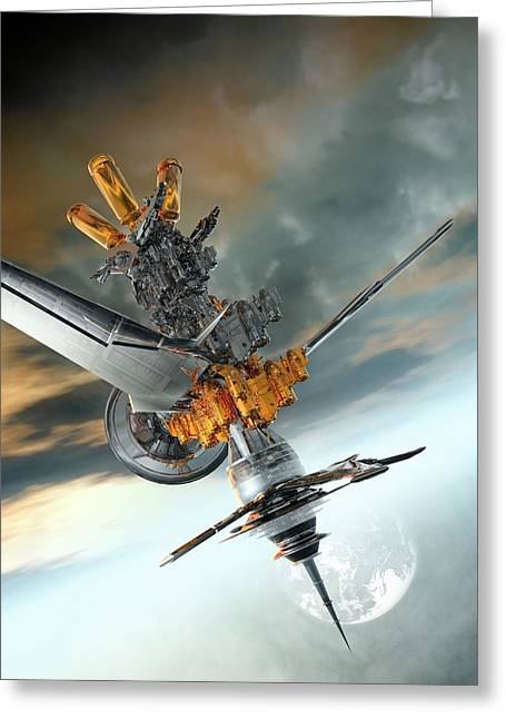 Space Craft In Orbit Greeting Card by Victor Habbick Visions