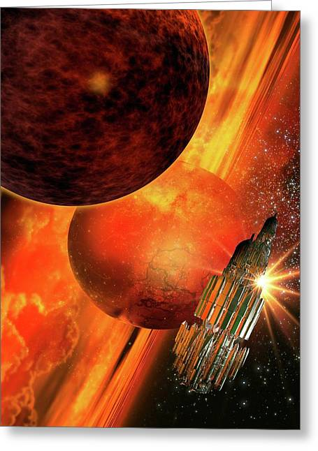 Space Craft Orbiting A Planet Greeting Card by Victor Habbick Visions