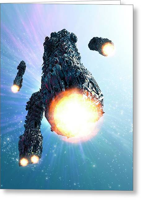 Space Craft With Ion Drives Greeting Card by Victor Habbick Visions