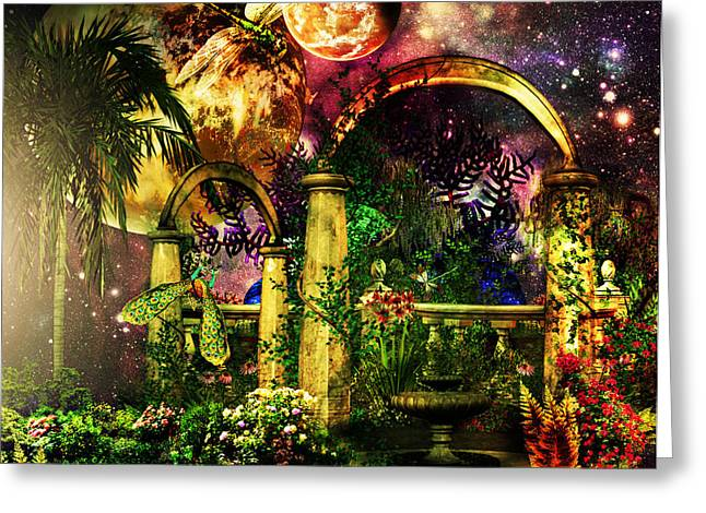 Greeting Card featuring the mixed media Space Garden by Ally  White