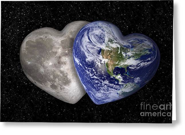 Space Love Greeting Card by Delphimages Photo Creations