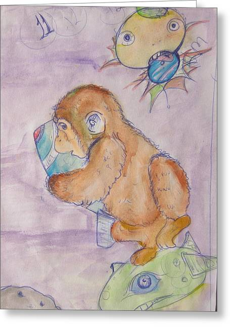 Space Monkey Greeting Card by Erik Franco