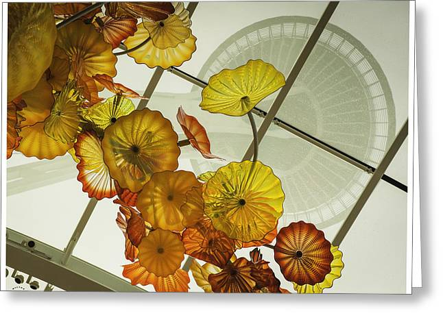 Space Needle And  Chilhuly Glass Greeting Card