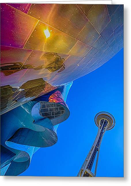 Space Needle And Emp In Perspective Hdr Greeting Card by Scott Campbell