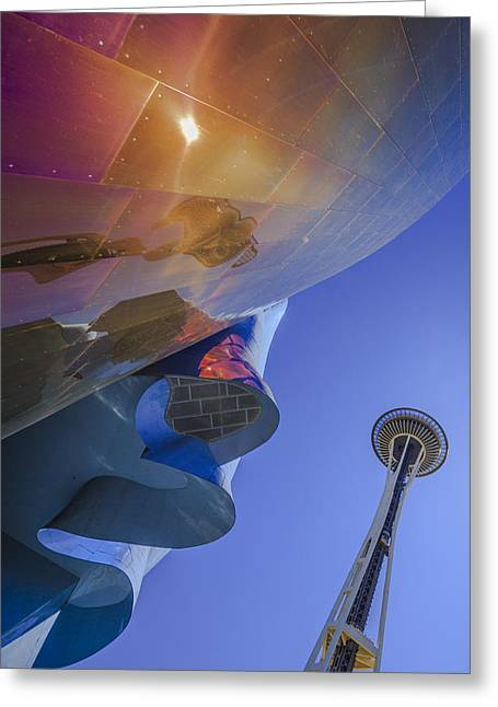 Space Needle And Emp In Perspective Non Hdr Greeting Card by Scott Campbell