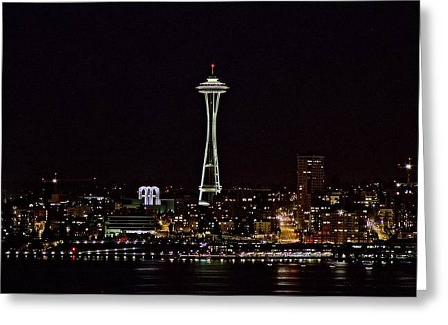 Space Needle At Night Greeting Card by Marv Russell