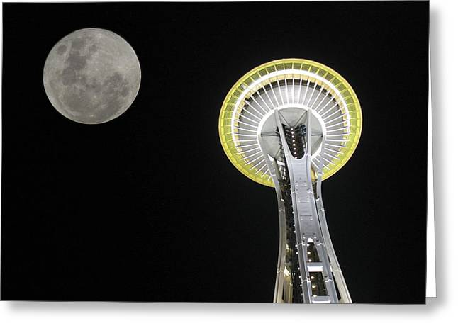 Space Needle Greeting Card by David Gleeson