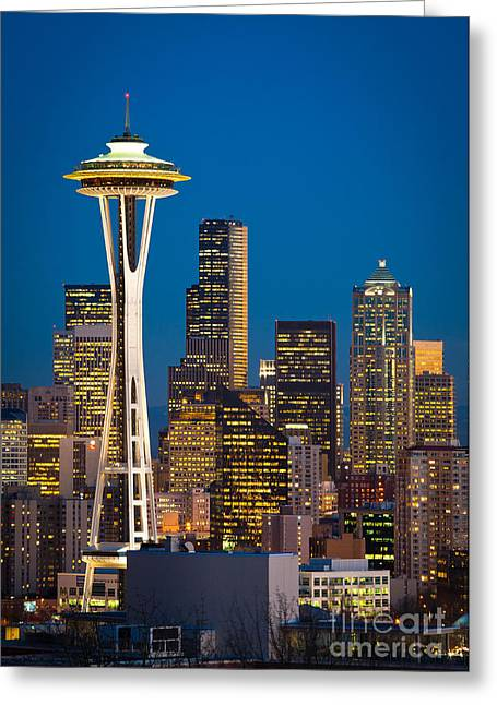 Space Needle Evening Greeting Card by Inge Johnsson