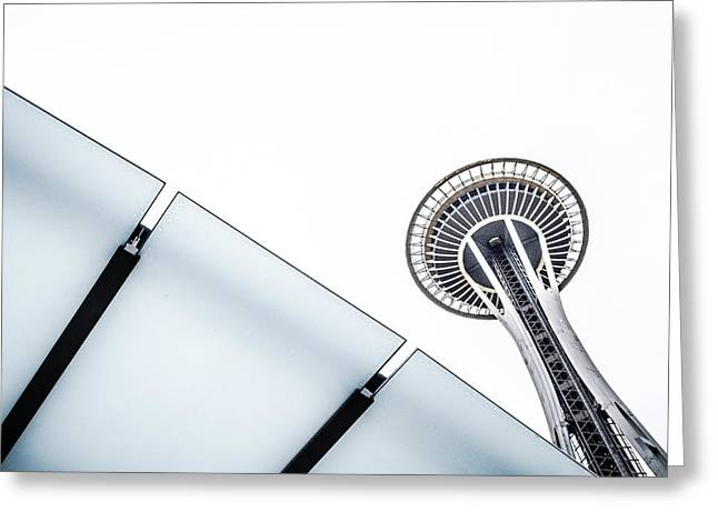 Space Needle On White Greeting Card by Wade Brooks