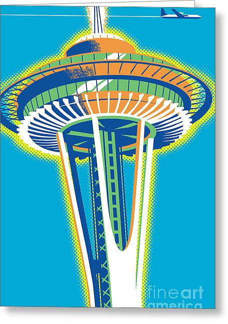 Space Needle Pop Art Greeting Card