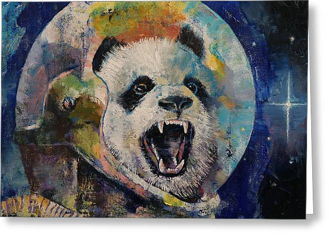 Space Panda Greeting Card by Michael Creese