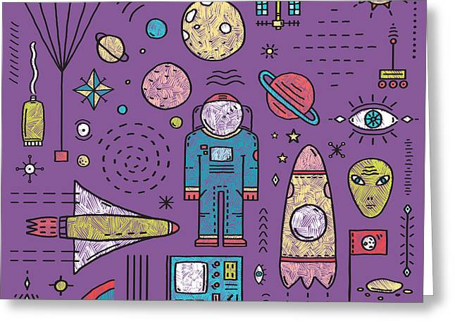 Space Planets Stars Cosmonaut Design Greeting Card