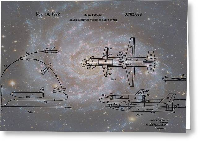 Space Shuttle And Capsule Patent Greeting Card