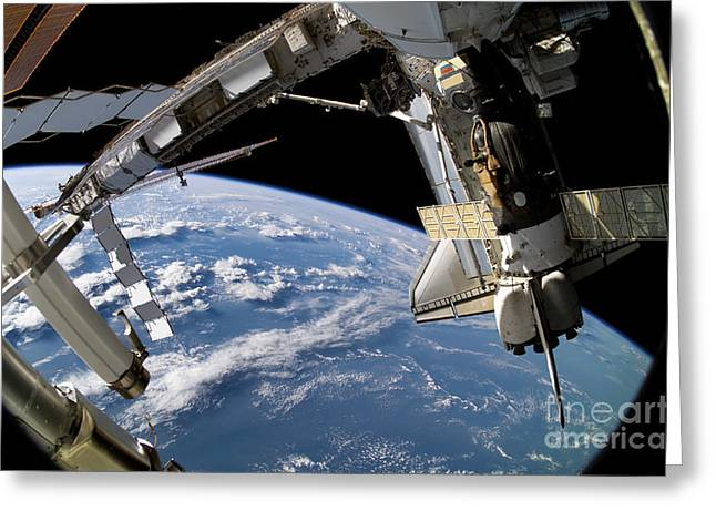 Space Shuttle Atlantis And A Soyuz Greeting Card