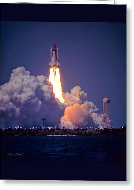Space Shuttle Challenger Sts-6 First Flight 1983 Photo 1  Greeting Card by Marie Hicks