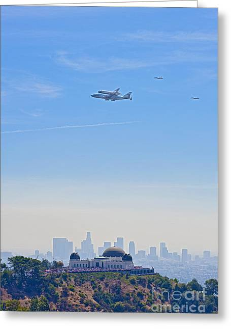 Space Shuttle Endeavour And Chase Planes Over The Griffith Observatory Greeting Card by David Zanzinger