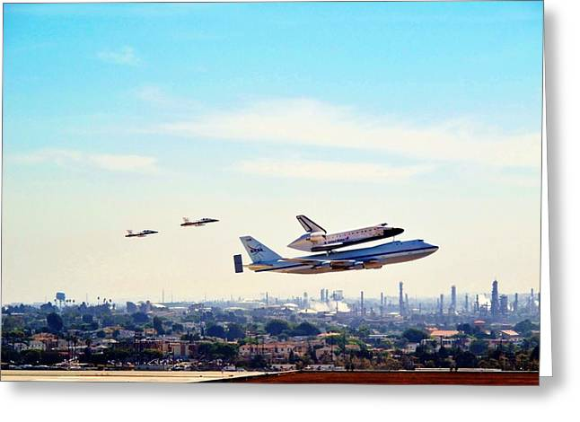 Space Shuttle Endeavour Flyby Greeting Card
