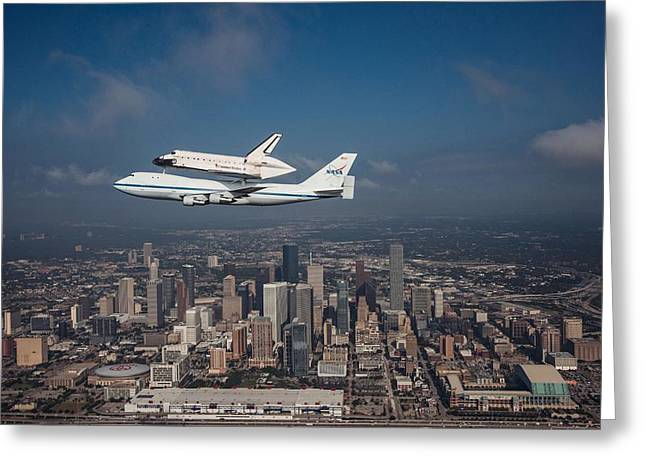 Space Shuttle Endeavour Over Houston Texas Greeting Card