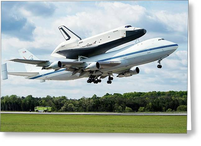Space Shuttle Enterprise Piggyback Flight Greeting Card by Nasa/smithsonian Institution/mark Avino