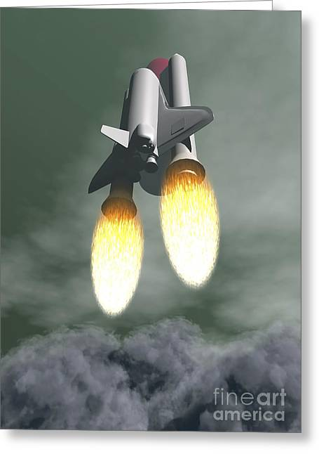 Space Shuttle Taking Off Amongst Grey Greeting Card by Elena Duvernay