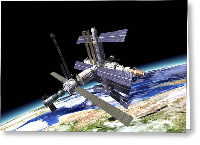Space Station In Orbit Around Earth Greeting Card by Leonello Calvetti