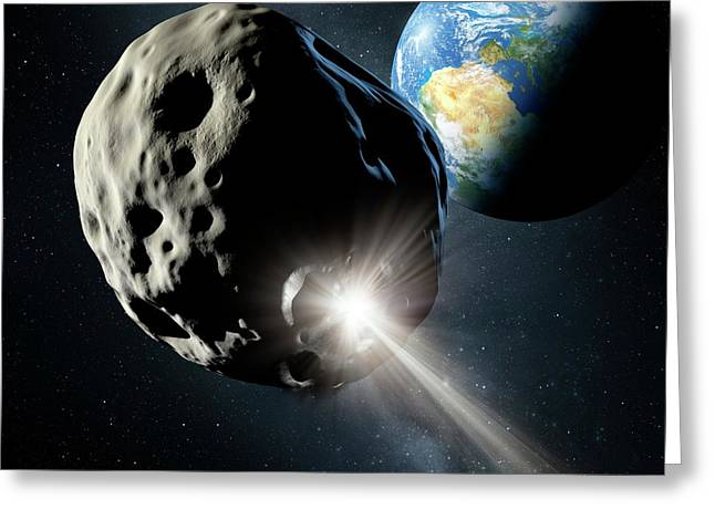 Spacecraft Colliding With Asteroid Greeting Card