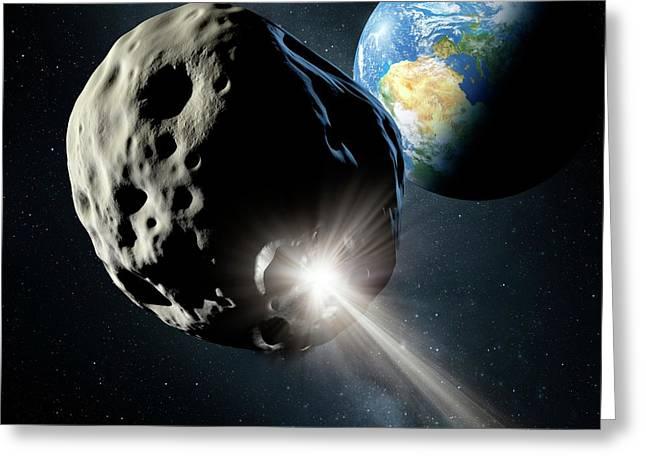 Spacecraft Colliding With Asteroid Greeting Card by Detlev Van Ravenswaay