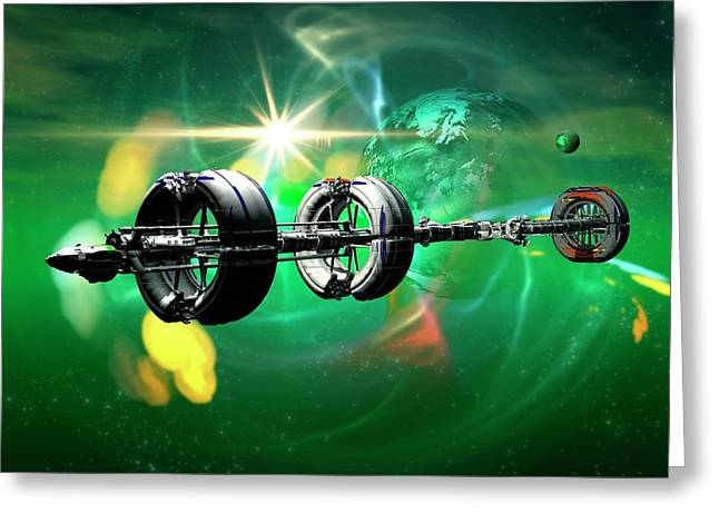 Spacecraft In Deep Space Greeting Card by Victor Habbick Visions