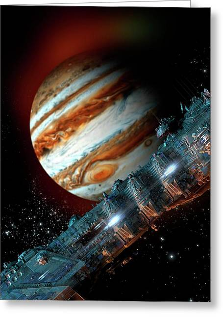 Spacecraft In Jupiter Orbit Greeting Card by Victor Habbick Visions
