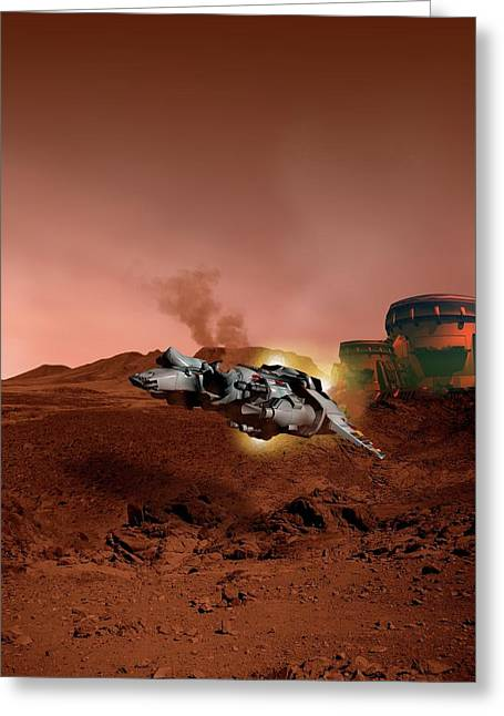 Spacecraft Over Mars Greeting Card by Victor Habbick Visions