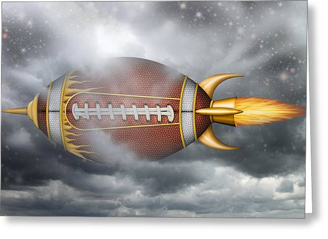 Spaceship Football Greeting Card