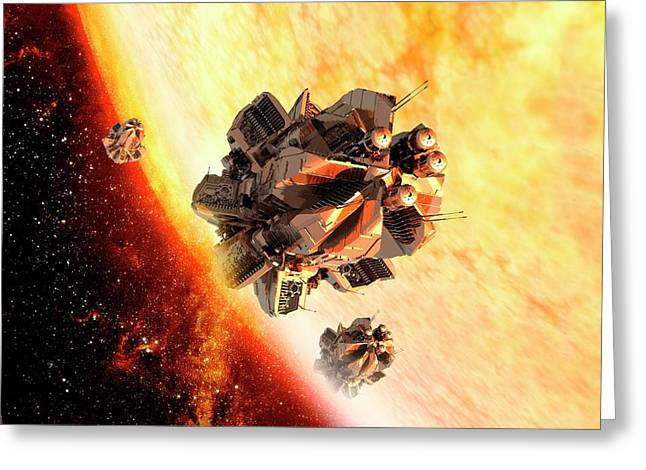 Spaceships Near The Sun Greeting Card by Victor Habbick Visions