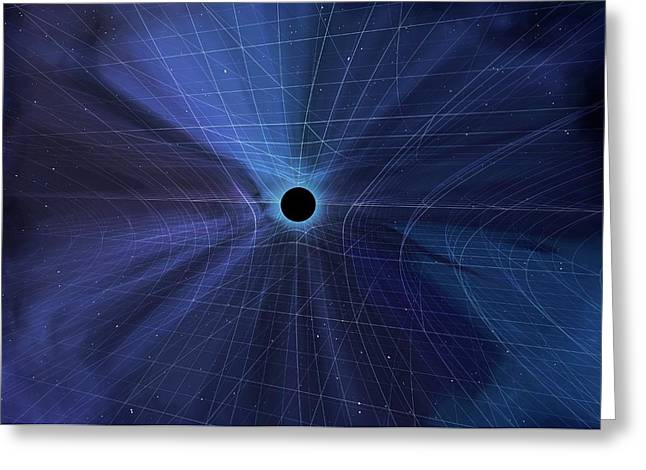 Spacetime Warped By A Black Hole Greeting Card by Mark Garlick