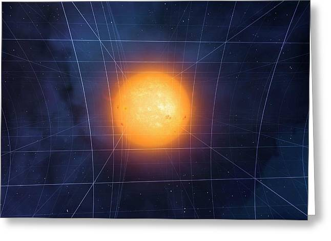 Spacetime Warped By Sun Greeting Card by Mark Garlick