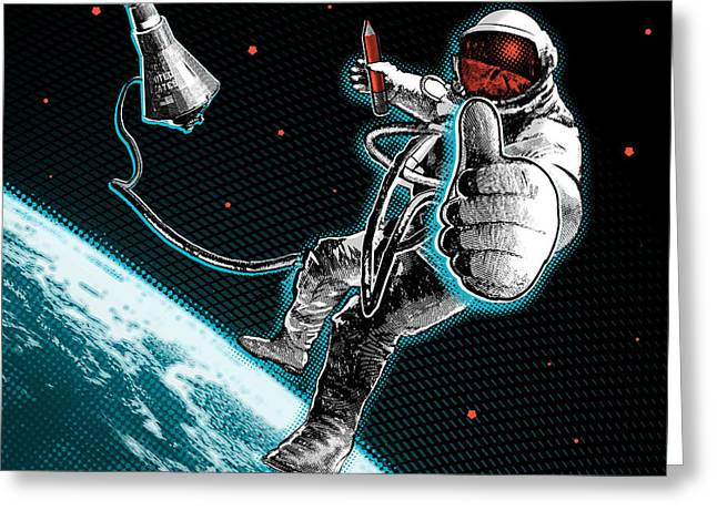 Spacewalk Good To Go Pillow Greeting Card by Vanessa Bates