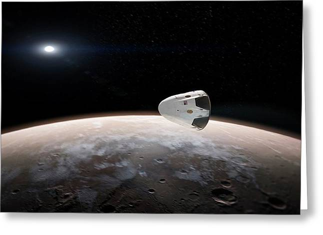 Spacex's Red Dragon At Mars Greeting Card by Spacex/science Photo Library