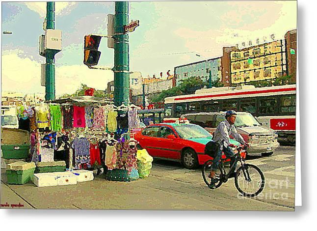 Spadina Street Vendor Chinatown Cyclists Cable Cars And Cabs Cityscapes Toronto Art Carole Spandau Greeting Card by Carole Spandau