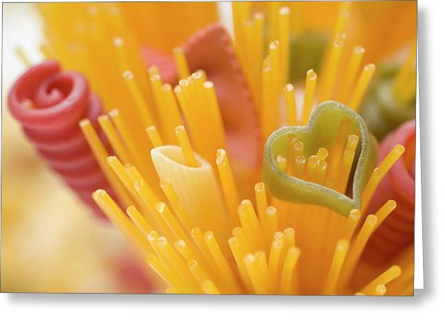 Spaghetti And Coloured Pasta (detail) Greeting Card