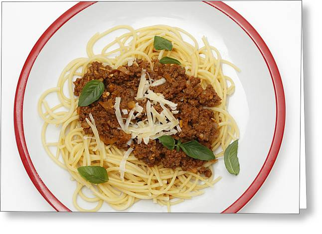 Spaghetti Bolognese From Above Greeting Card by Paul Cowan