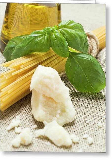 Spaghetti, Parmesan, Basil And Olive Oil Greeting Card