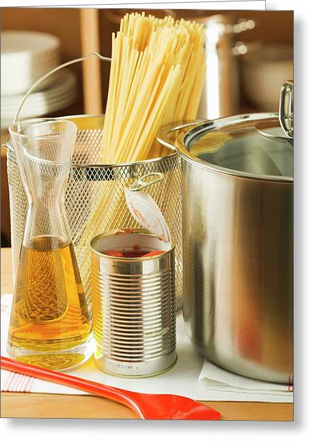 Spaghetti, Tin Of Tomatoes, Oil And Pan Greeting Card
