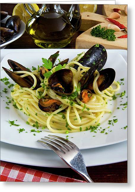 Spaghetti With Mussels (mytilus Greeting Card