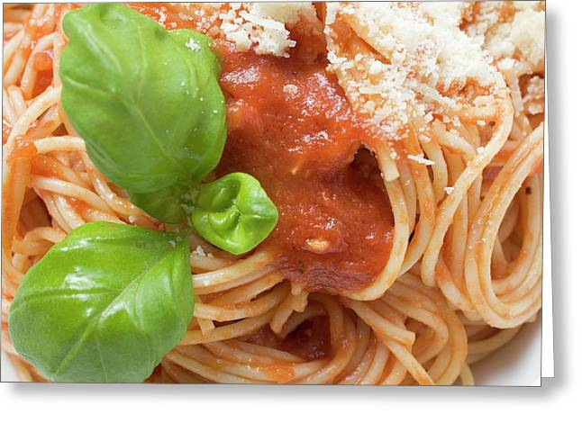 Spaghetti With Tomato Sauce, Basil And Parmesan (close-up) Greeting Card
