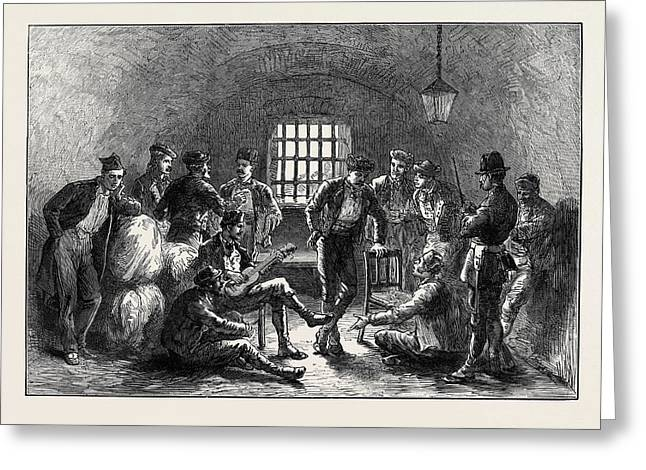 Spain Carlist Prisoners In The Ancient Moorish Prison Greeting Card by Spanish School