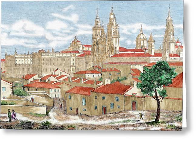 Spain Galicia Santiago De Compostela Greeting Card by Prisma Archivo