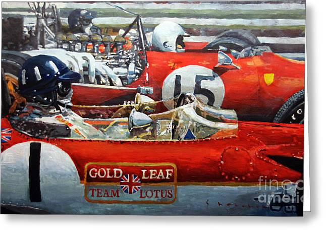 Spain Gp 1969  Lotus 49 Hill  Ferrari 312 Amon  Lotus 49b Rindt  Greeting Card by Yuriy Shevchuk