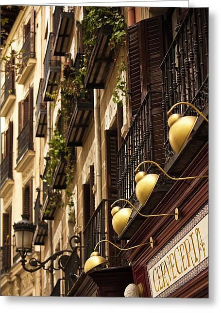 Spain, Madrid, Huertas Area, Plaza De Greeting Card
