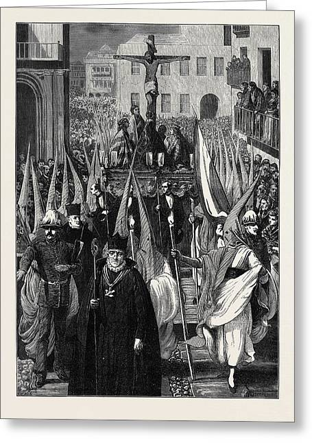 Spain Religious Procession In Seville During The Holy Week Greeting Card by Spanish School
