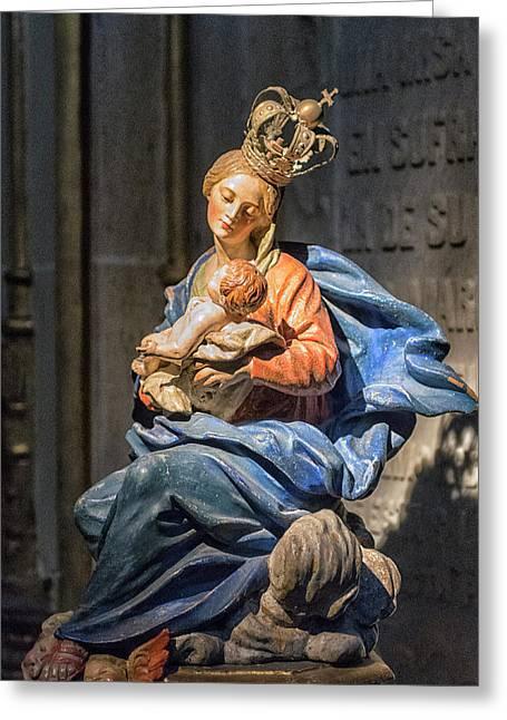 Spain, Salamanca, Statue Of Madonna Greeting Card